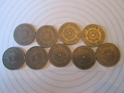 9 COIN SET: 5 CENTESIMOS! Vintage URUGUAY coin 1901, 09, 24 NICKEL finish  IS201
