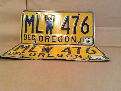 Vintage Pair Oregon Licence Plate MLW 476 from the 60's or 70's Plates