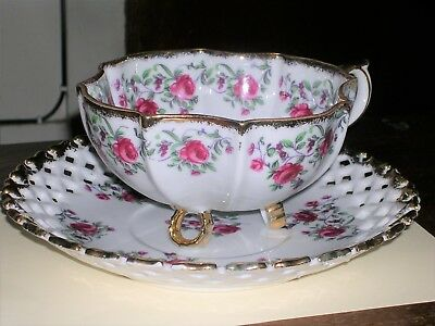 "Vintage oversized Napco cup and 9"" saucer - Roses - Hand painted"