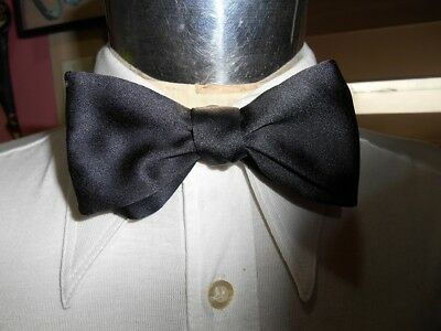 Vintage Black Polyester Adjustable Butterfly Bow Tie - Steampunk Prom Formal