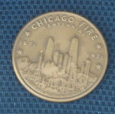 Old Chicago Fire IL State of Illinois Centennial Challenge Coin - 1871 to 1971