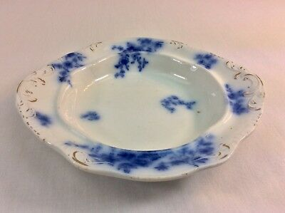"Antique 1800s WH Grindley Albany Blue Flow Bone China Gold 7.5"" Dish England"