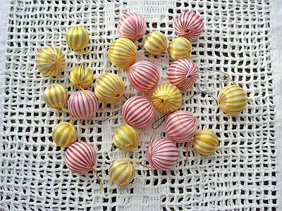 "Lot 70+ Vtg Red or Yellow Satin Stripes & Solid Red/Yellow 1"" - 1 1/4"" Ornaments"