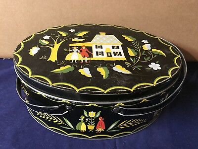 Vintage Pennsylvania Dutch Design Oval Metal Sewing Basket/Box Handles
