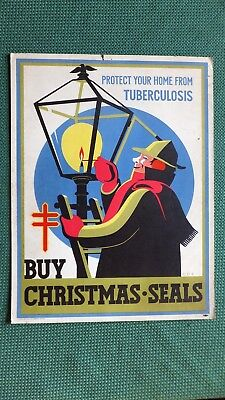 "1946 Christmas seals sign/store display - on heavy card stock  - 11"" x 15"""