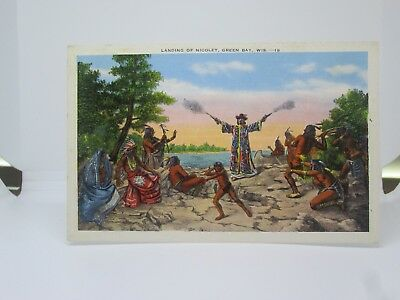 Vintage Postcard of the Landing of Nicolet, Green Bay, Wisconsin WI Indians