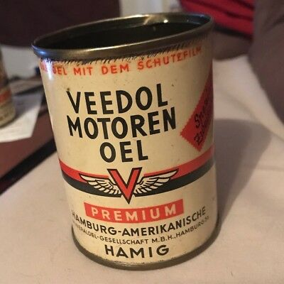 Rare German Veedol Top Oil Can - Tin Gas Tydol Flyjng A Grease Sign