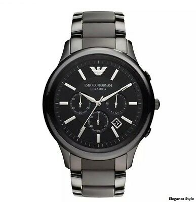Armani AR1451  Mens Ceramic Chronograph Watch Black Dial Brand New Fast Delivery