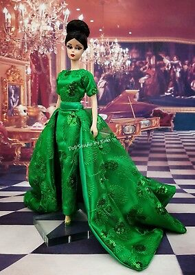 Green Evening Dress Outfit Gown Fits Silkstone Barbie Fashion Royalty Model Muse