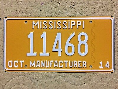 Superb 2014 Mississippi MANUFACTURER license plate # 11468