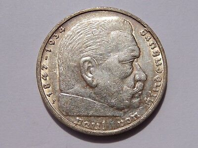 1935 F Germany Third Reich 5 Reichsmark Xf No Reserve! Super Nice! Must See!!