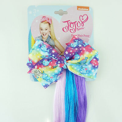 JoJo Siwa Small Bow with Faux Hair Extensions Clip In Colorful Ponytail