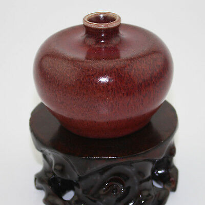 Chinese antique old hand-carved porcelain red glaze writing-brush washer c01