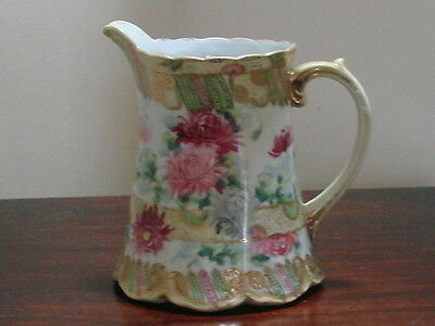 Antique Gorgeous Hand Painted And Gilded Nippon.milk Jug Or Pitcher.