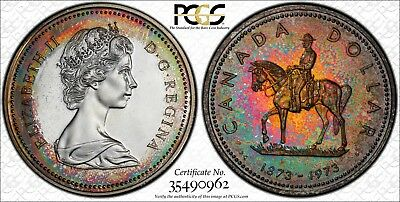 """1973 $1 PCGS SP67 Canada RCMP Silver Dollar """"FOREST FIRE"""" Monster Toned Beauty"""