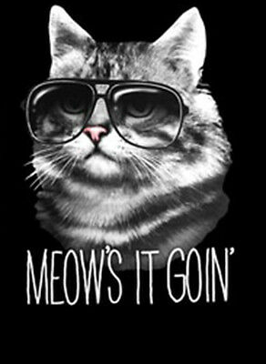 60eeccf02 Meows It Goin Cool Cat Wearing Sunglasses Kitty Funny Animal T-Shirt Tee