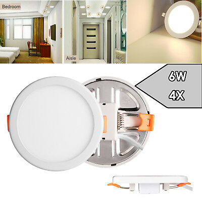 4X 6W Round LED Recessed Ceiling Panel Down Light Free Hole Slim Neutral White