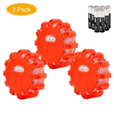 3PCS LED Road Flashing Flare Emergency Roadside Safety Light for Car Truck Boat