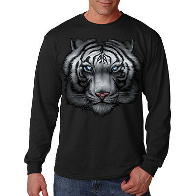 Majestic White Snow Tiger Big In Your Face Design Animal Long Sleeve T-Shirt Tee