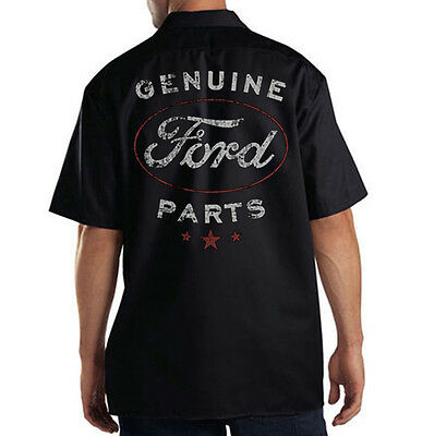Dickies Mechanic Work Shirt Genuine Ford Parts Motor Company Distressed Design