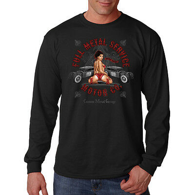 Full Metal Service Motor Co Hot Rat Rod Car Auto Garage Long Sleeve T-Shirt Tee