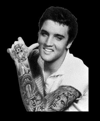 Elvis Presley King Of Rock & Roll Music Gangster Tattoo Funny T-Shirt Tee