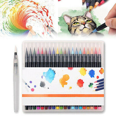 20 Colors Art Oil Watercolor Drawing Painting Brush Sketch Manga Pen Set Toy AU