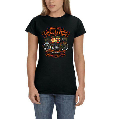 American Pride Timeless Tradition USA Motorcycle Pin Up Girl Women's T-Shirt Tee