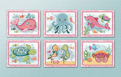Under the Sea/Ocean Animals.Kids/Baby/Nursery Art Prints.Wall Decor.Whale.Fish