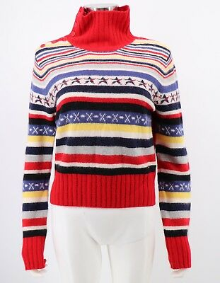 Tommy Hilfiger Jeans Womens Sweater Red Multicolor Striped Wool Blend Size XL