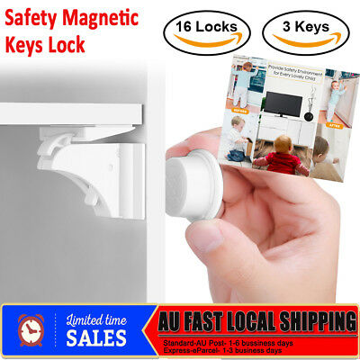 16 Sets Magnetic Cupboard Cabinet Drawer Baby Child Safety Lock Latch Kids Proof