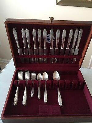 "38pc. WM Rogers/Community Plate Silverplate Flatware with an ""S"" Engraved Set"