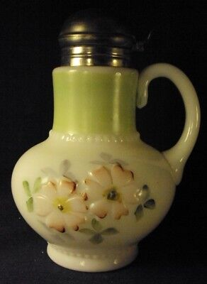 Consolidated Glass Floral Syrup AKA Coreopsis hand painted milk glass