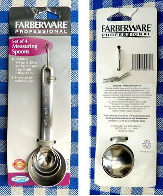 Farberware Professional-quality SS Measuring Spoons ON CARD - 1T  1t  1/2t  1/4t