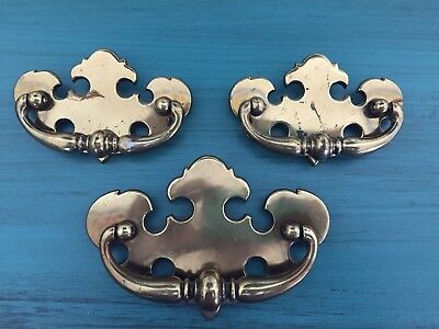 "Three Vintage Brass Drawer Pulls Chippendale Bat Wing (2 sizes) 4"" & 5 1/4"""