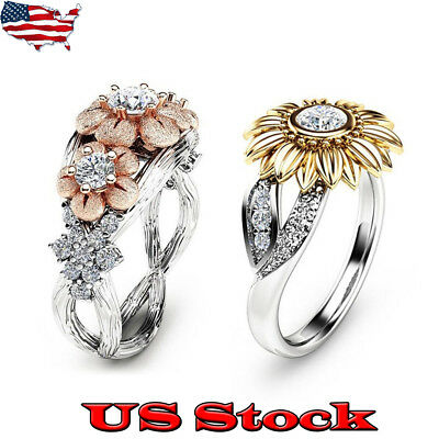 USA Womens Sunflower Silver Rose Gold Ring Plated Zircon Promise Wedding Jewelry