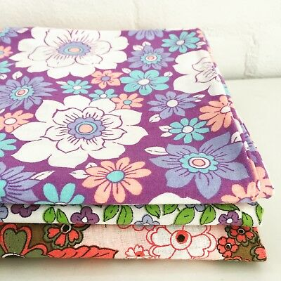 MIXED Quilting Sewing Pack of Vintage Fabric PURPLE Retro