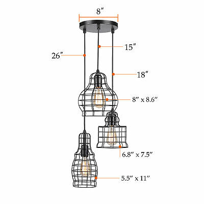 NEW  3-Light Cage Cluster Pendant in Antique Black Finish UL Listed