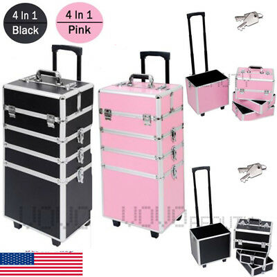 Professional 4 in1 Rolling Makeup Trolley Train Case Box Organizer Cosmetic Bag