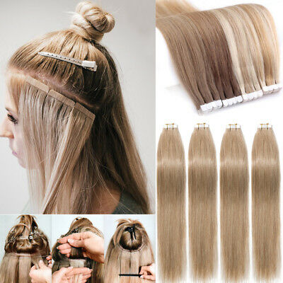 8a 150g Remy Tape In Glue 100 Real Human Hair Extensions Full Head Skin Weft Us