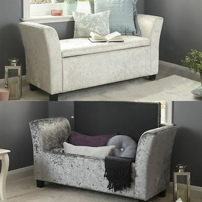 Verona Crushed Velvet Window Seat Ottoman Storage Box Footstool Bench