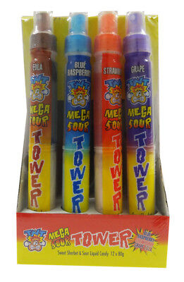 TNT MEGA SOUR TOWER - CANDY SPRAY + SHERBET (80G X 4 pcs)