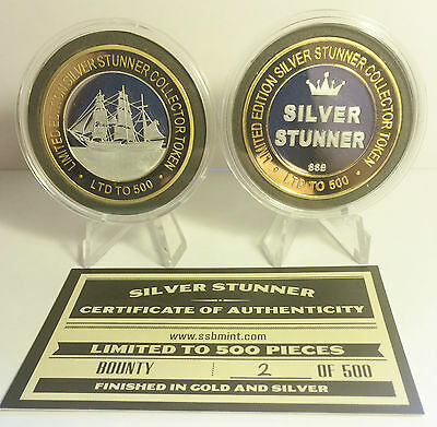 "BOUNTY 43mm ""SILVER STUNNER"" C/TOR TOKEN,COIN C.O.A. Only 500, $50 at Mint"