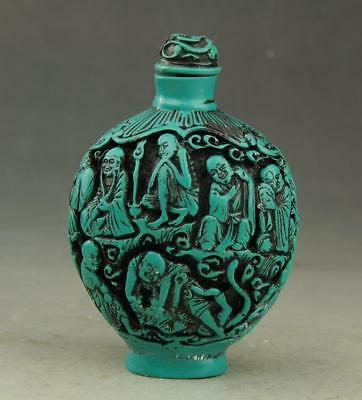 Chinese old kallaite hand-carved Buddha statue snuff bottle a01