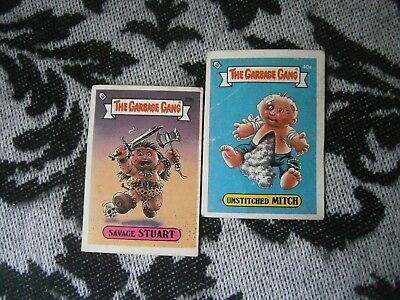 2 GARBAGE GANG Original Pail Kids 1985 Cards UNSTITCHED MITCH Savage Stuart Topp