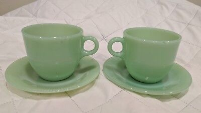 Fire King Jadeite Restaurant Ware Oven Proof Saucers C Handle Coffee Cups Ribbed