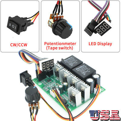 DC10V-55V PWM Brushed Digital Motor Speed Controller CW CCW Reversible Switch US
