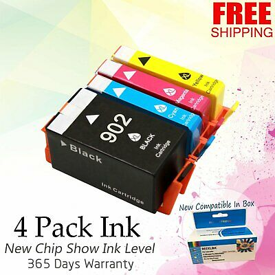 4 #902 XL Printer Ink Set 902XL for HP OfficeJet Pro 6954 6960 6968 6975 6978