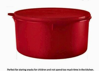 Tupperware NEW 42 Cup canister Ex Large Red turn It Over Use It As A Cake Taker.