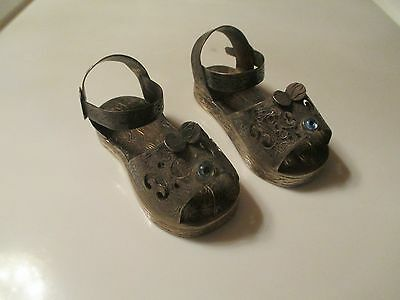 Antique pair of silver Sandals hand made blue eye charm MUST SEE